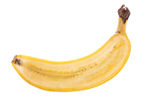 lengthwise cutted halfed yellow banana fruit with peel isolated on white background