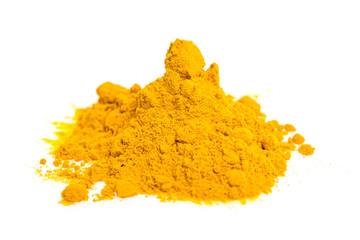 heap of curcuma / turmeric powder isolated on white background