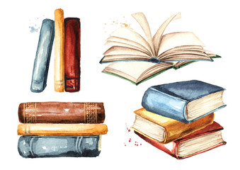 Collection of old books. Watercolor hand drawn illustration, isolated on white background