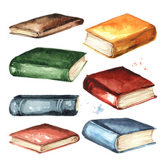Colored old books collection. Watercolor hand drawn illustration isolated on white background