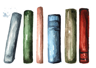 Colored old books collection. Watercolor hand drawn illustration, isolated on white background