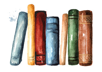 Colored standing old books. Watercolor hand drawn illustration, isolated on white background