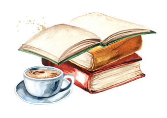 Old books and cup of coffee. Watercolor hand drawn illustration isolated on white background
