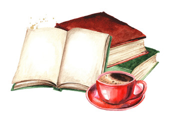 Old books and cup of coffee. Watercolor hand drawn illustration, isolated on white background