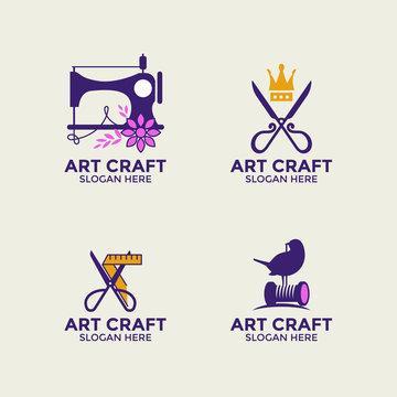 Handmade Craft and Sewing vector logo design