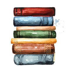 Tall stack of old books, Watercolor hand drawn illustration isolated on white background