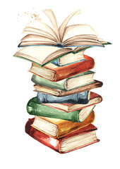 Tall stack of old books, Watercolor hand drawn illustration, isolated on white background