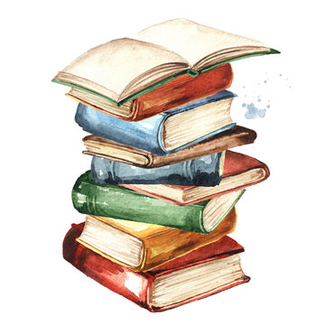 Stack of old books. Watercolor hand drawn illustration isolated on white background