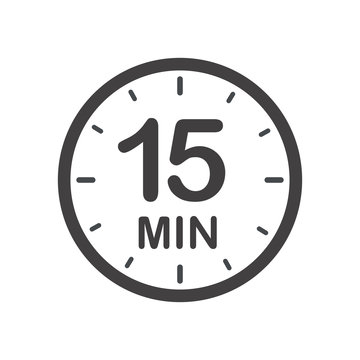 Fifteen minutes icon. Symbol for product labels. Different uses such as cooking time, cosmetic or chemical application time, waiting time ...