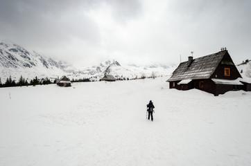 adventure in high mountain during winter with snow, Tatra mountain, Poland, Slovakia