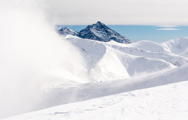 winter landscape in high Tatra mountains with snow