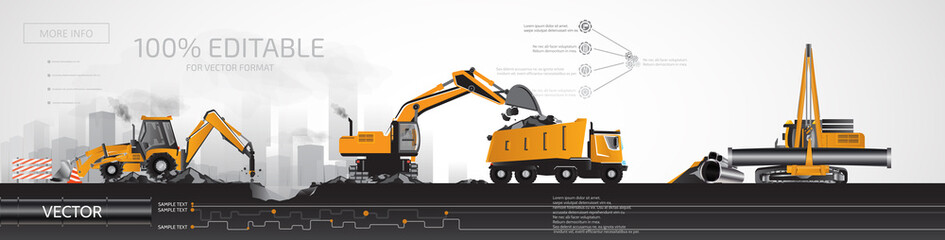 Construction heavy equipment, infographic.