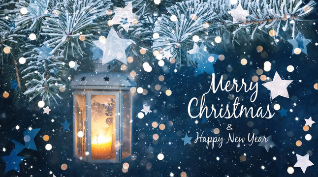 Beautiful greeting card with text Merry Christmas
