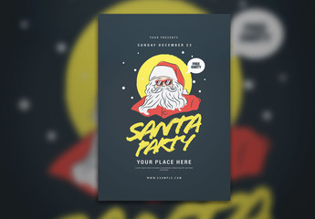Christmas Event Graphic Flyer Layout with Santa