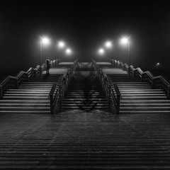 Girl on North Sea beach at night