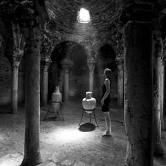 Girl in historic Spanish architecture