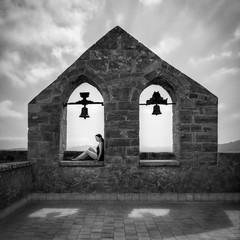 Girl on an old church