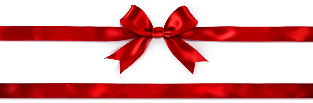 Red Bow And Ribbon Isolated On White