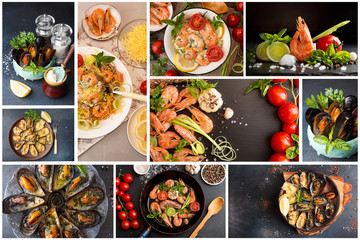 Food set collage of various pictures of seafood dishes meal. Shrimps and mussels bbq grilled baked and seafood pasta