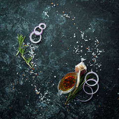 Fototapete - Stone cooking banner. Kitchen board with vegetables and spices. Top view. Free copy space.