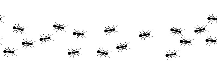Worker ants marching. Vector ant seamless border. Working team concept. Small vector bug colony. Insects.