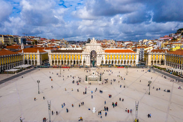 Augusta Gate and Commerce Square in Lisbon from above - Praca do Comercio Lisboa - aerial drone footage Wall mural