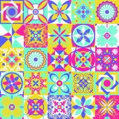 Acrylic Prints Moroccan Tiles Talavera pattern. Indian patchwork. Azulejos portugal. Turkish ornament. Moroccan tile mosaic. Ceramic tableware, folk print. Spanish pottery. Ethnic background. Mediterranean seamless wallpaper.