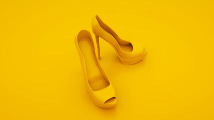 Yellow high heels. Women shoes concept. 3d illustration Wall mural