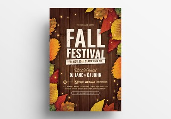 Fall Festival Flyer Layout with Autumn Theme
