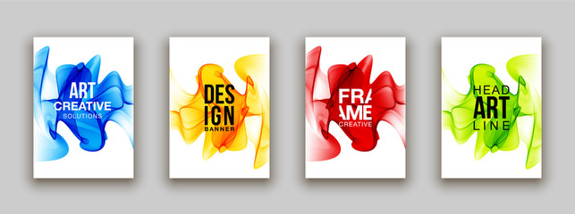 minimalistic hipster colored liquid gradient halftone smoke frame design set. headline frame Modern Art graphics design business card, invitations, gift card, flyers, smoke brochures isolated on white