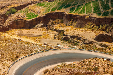 Curve on road between mountains in Jujuy, Argentina