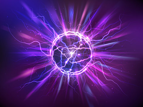 Electric ball or plasma sphere with rays, realistic vector illustration. Abstractt ball lightning with burning flash or powerful electric discharges isolated at night background. Magical energy design
