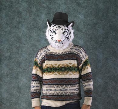 studio portrait of a tiger, a man with a tiger head