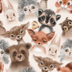 Wall Murals Owls cartoon Beautiful seamless, tileable, watercolor pattern with woodland animals - deer, bunny, hedgehog, bear, owl and fox