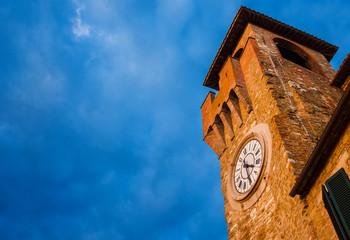 Passignano sul Trasimeno old clock tower, a city landmark (with copy space)