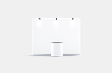 Blank white trade show booth mockup, front view