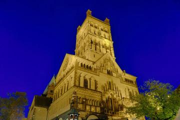 Historisches Münster in Neuss bei Nacht