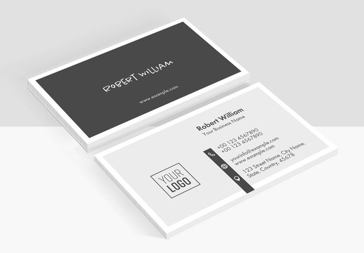 Minimal Business Card Layout with Black Accents