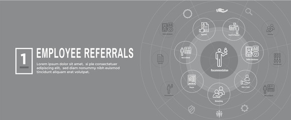 Employee Referrals Icon Set & Web Header Banner