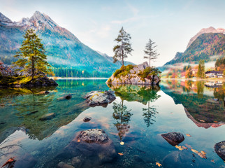 Dreamy autumn scene of Hintersee lake. Romantic morning view of Bavarian Alps on the Austrian...