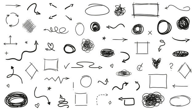 Infographic elements on isolated white background. Hand drawn sketchy shapes. Set of different signs. Abstract symbols. Black and white illustration