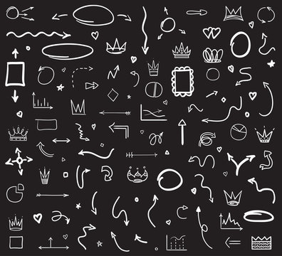 Infographic elements on isolated black background. Hand drawn wavy arrows. Set of different signs. Black and white illustration