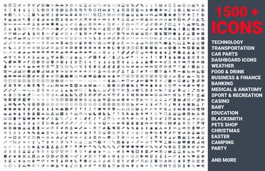 Fototapeta Set of 1500 vector icons glyph