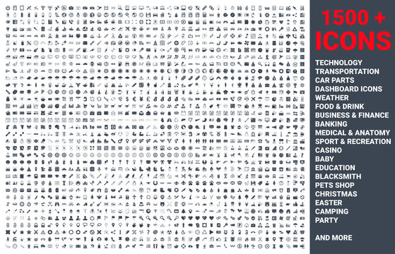 Set of 1500 vector icons glyph