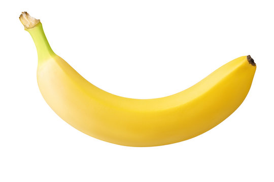 one banana isolated on white background with clipping path
