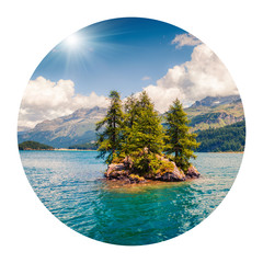 Round icon of nature with landscape. Small island on the Sils lake. Colorful morning view in Swiss Alps, Maloja pass, Switzerland, Europe. Photography in a circle. .