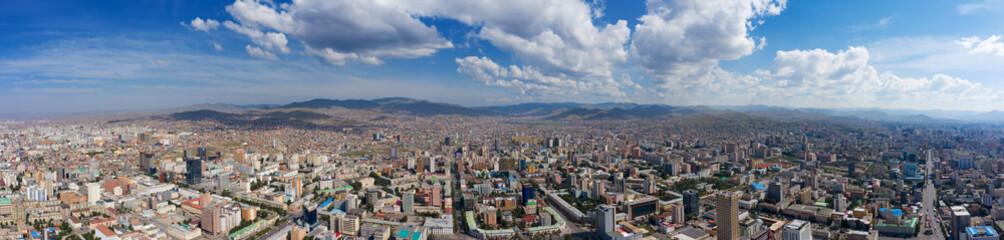Aerial panorama view of Ulaanbaatar city, capital of Mongolia