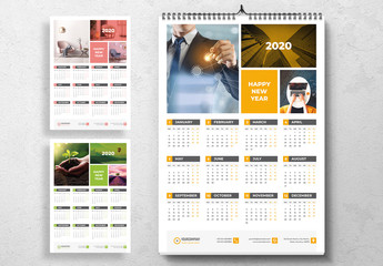Wall Calendar Layout with Colorful Accents