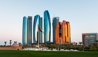 Abu Dhabi  skyscrapers at the downtown  Fotobehang