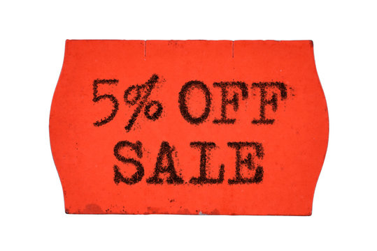 5 OFF percent Sale red price tag sticker isolated